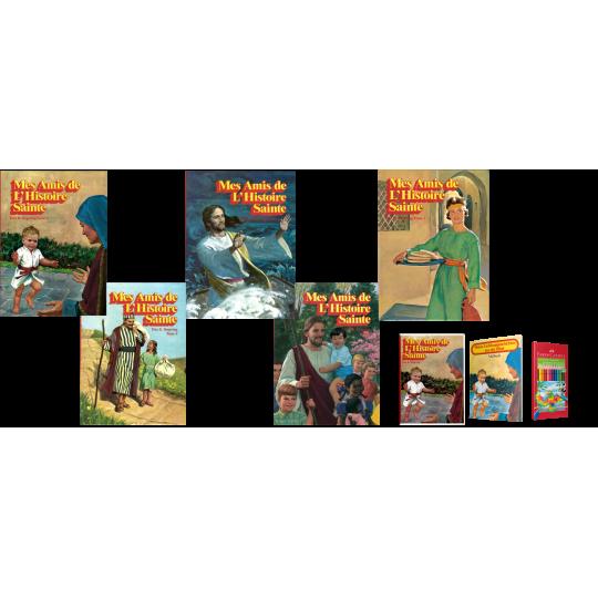 Mes Amis de l'Histoire sainte, Bände 1-5 inkl. Hörbuch, Malheft, Farbstifte